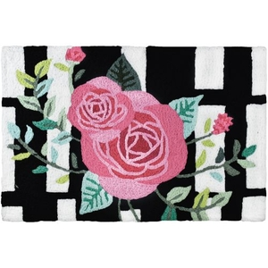 "Roses On Black Stripes Indoor/Outdoor Rug, 20"" X 30"""
