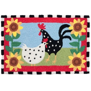 "Funky Chickens Indoor/Outdoor Rug, 20"" X 30"""