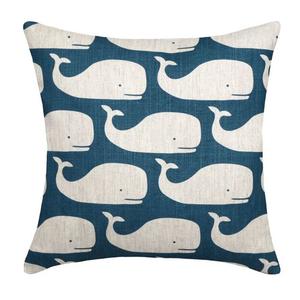 Whale Navy Linen Pillow