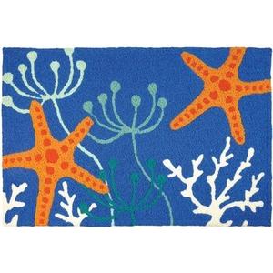 """Starfish On Royal Blue Indoor/Outdoor Rug, 20"""" X 30"""""""