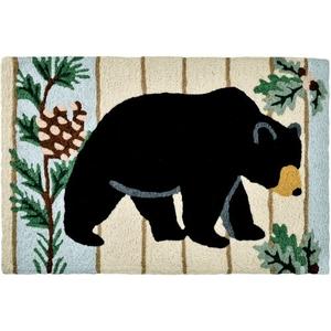 """Black Bear & Pine Indoor/Outdoor Rug, 20"""" X 30"""""""