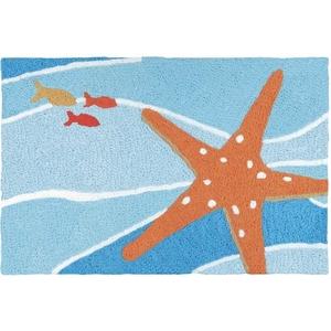 """Starfish On Blue Waves Indoor/Outdoor Rug, 20"""" X 30"""""""