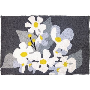 "Daisies On Pewter Indoor/Outdoor Rug, 20"" X 30"""