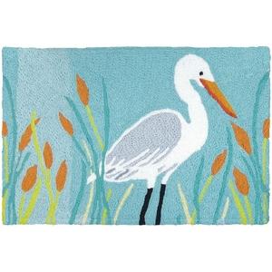 """Egret And Cattails Indoor/Outdoor Rug, 20"""" X 30"""""""