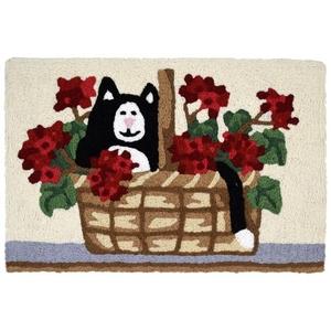 """Kitty In Geranium Basket Indoor/Outdoor Rug, 20"""" X 30"""""""
