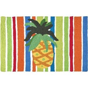 "Pineapple On Watercolored Stripes Indoor/Outdoor Rug, 20"" X 30"""