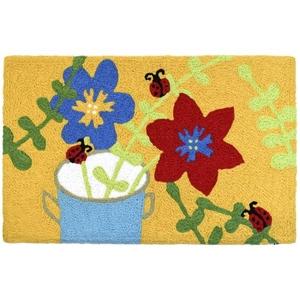 """Flower Pot & Ladybugs Indoor/Outdoor Rug, 20"""" X 30"""""""