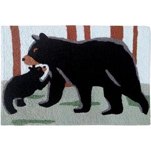 """Black Bear & Cub Indoor/Outdoor Rug, 20"""" X 30"""""""