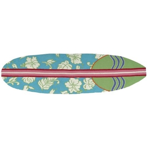 """Surfboard Hawaiian Turquoise Indoor Only Rug, 22"""" X 34"""""""