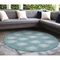 """Liora Manne Carmel Seaturtles Indoor/Outdoor Rug Aqua 7'10"""" RD"""