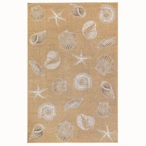 """Liora Manne Carmel Shells Indoor/Outdoor Rug Sand 7'10"""" RD"""