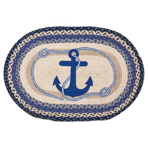 Navy Anchor Stars Oval Patch Rug
