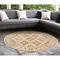 """Liora Manne Carmel Vintage Floral Indoor/Outdoor Rug Sand 7'10"""" RD"""