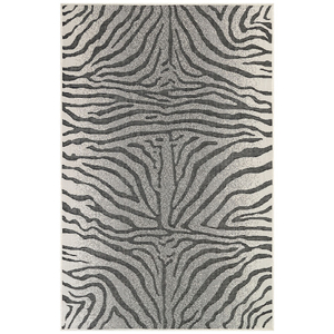 """Liora Manne Carmel Zebra Indoor/Outdoor Rug Grey 39""""X59"""""""