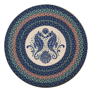 Shell Coast Seahorse Round Patch Rug