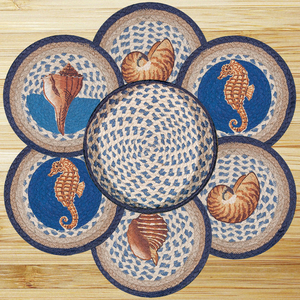Deep Blue Sea Shell Trivet Set In Basket