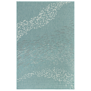 "Liora Manne Carmel School Of Fish Indoor/Outdoor Rug Aqua 4'10""X7'6"""