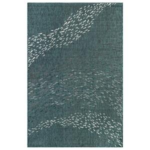 "Liora Manne Carmel School Of Fish Indoor/Outdoor Rug Teal 7'10"" RD"