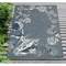 "Liora Manne Carmel Seashell Border Indoor/Outdoor Rug Navy 39""X59"""