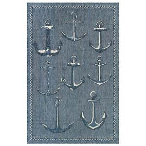 "Liora Manne Carmel Anchors Indoor/Outdoor Rug Navy 7'10"" SQ"