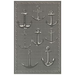 "Liora Manne Carmel Anchors Indoor/Outdoor Rug Grey 6'6""X9'4"""