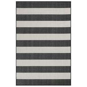 "Liora Manne Carmel Rugby Stripe Indoor/Outdoor Rug Black 7'10"" SQ"