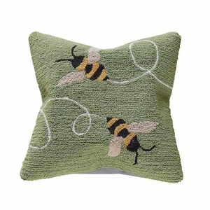 "Liora Manne Frontporch Buzzy Bees Indoor/Outdoor Pillow Green 18"" Square"