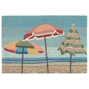 "Liora Manne Frontporch Beach Umbrellas Indoor/Outdoor Rug Aqua 20""X30"""