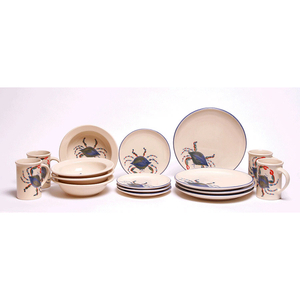 Blue Crab Dinner Set (Coupe Plates)