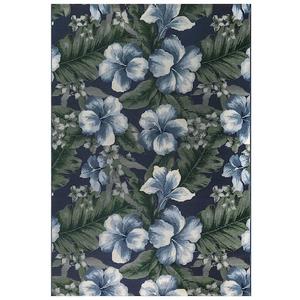 "Liora Manne Marina Floral Indoor/Outdoor Rug Navy 4'10""X7'6"""