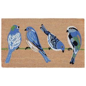 """Liora Manne Natura Blue Birds Outdoor Mat Natural 24""""X36"""""""