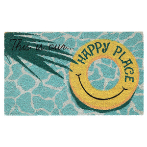 "Liora Manne Natura This Is Our Happy Place Outdoor Mat Aqua 24""X36"""