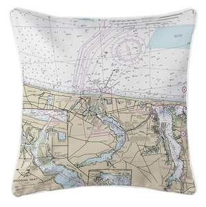Manasquan, Point Pleasant, NJ Nautical Chart Pillow