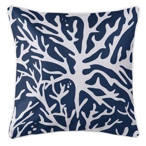 Sea Coral Coastal Pillow - Navy
