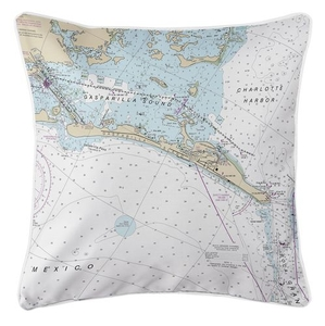 Gasparilla Island, FL Nautical Chart Pillow