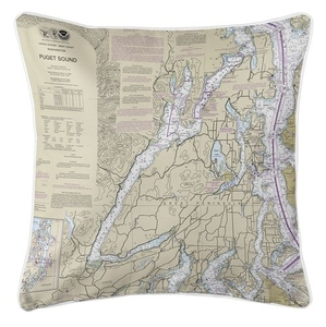Great Penninsula, Hood Canal, WA Nautical Chart Pillow
