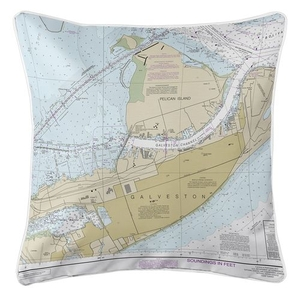 Galveston, Pelican Island, TX Nautical Chart Pillow