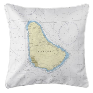 Barbados, West Indies Nautical Chart Pillow