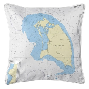 Barbuda, West Indies Nautical Chart Pillow