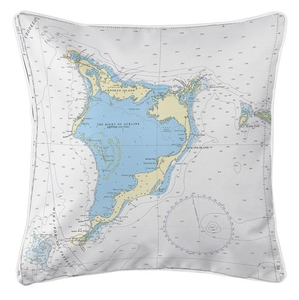 Crooked Island, Acklins Island, Plana Cays, Bahamas Nautical Chart Pillow