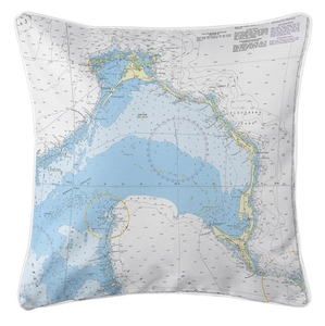 Eleuthera Island, Bahamas Nautical Chart Pillow