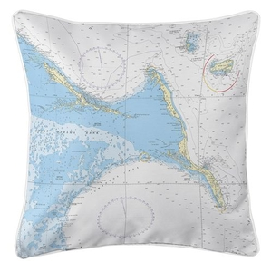 Exuma Islands, Long Island, Rum Cay, Bahamas Nautical Chart Pillow