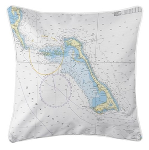 Little San Salvador Island, Cat Island, Bahamas Nautical Chart Pillow