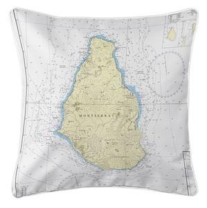 Montserrat, West Indies Nautical Chart Pillow