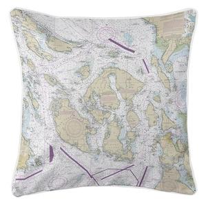 San Juan Islands, WA Nautical Chart Pillow