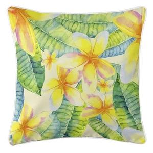 Plumeria Yellow Coastal Pillow