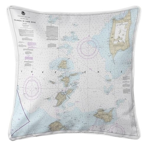 Islands in Lake Erie Nautical Chart Pillow