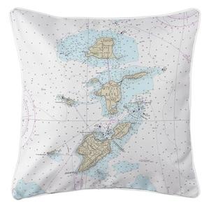 Bass Islands, OH Nautical Chart Pillow