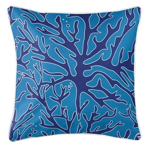 Sea Coral Coastal Pillow - Navy, Light Blue
