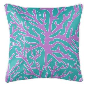 Sea Coral Coastal Pillow - Purple, Turquoise